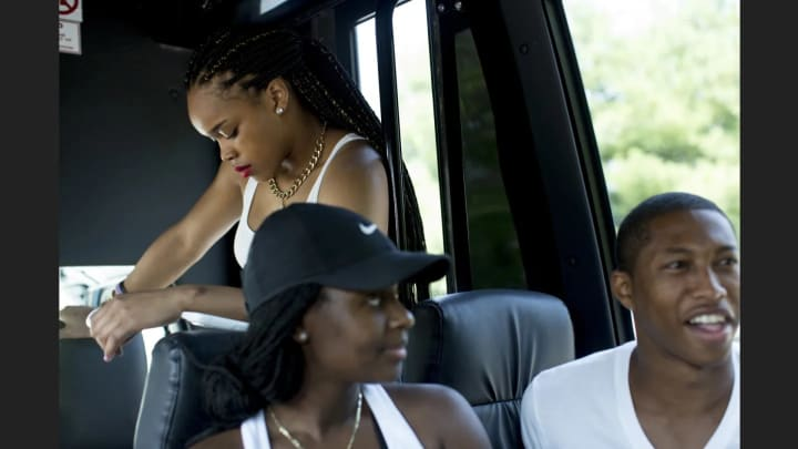 Brittany Boyd waits on the bus before arriving at Six Flags Great Adventure.