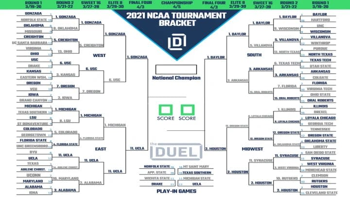 Updated 2021 NCAA Tournament bracket heading into the Final Four.
