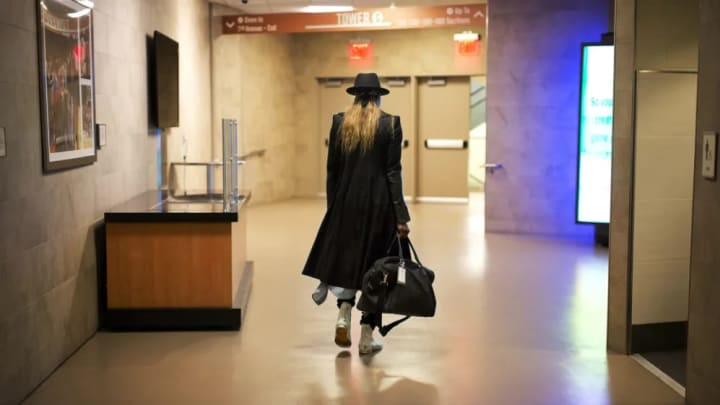 Essence Carson walks out of Madison Square Garden for the final time of the season.
