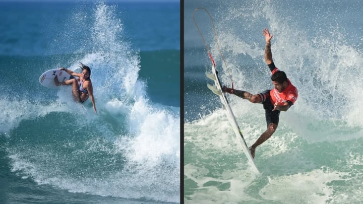 Carissa Moore is currently ranked #2 in the world. She's looking to climb to #1 with moves like this (left,) Brazilian Filipe Toledo is currently rank