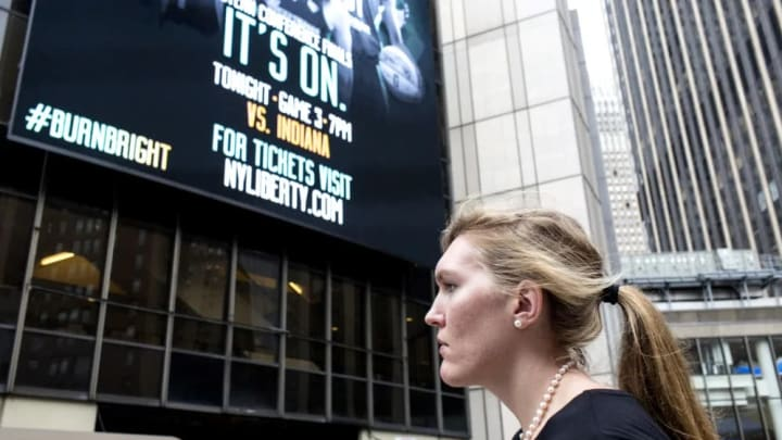 Carolyn Swords walks to Madison Square Garden for Game 3 of the Eastern Conference Finals.