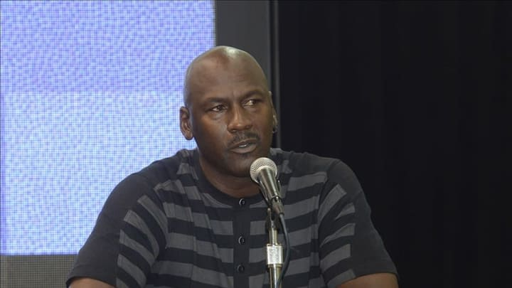 May 21, 2013; Charlotte, NC, USA; NBA team owner Michael Jordan announces that the Charlotte Bobcats will change their name and branding to the Charlotte Hornets starting in the 2014 2015 season at Time Warner Cable Arena. Mandatory Credit: Sam Sharpe-USA TODAY Sports