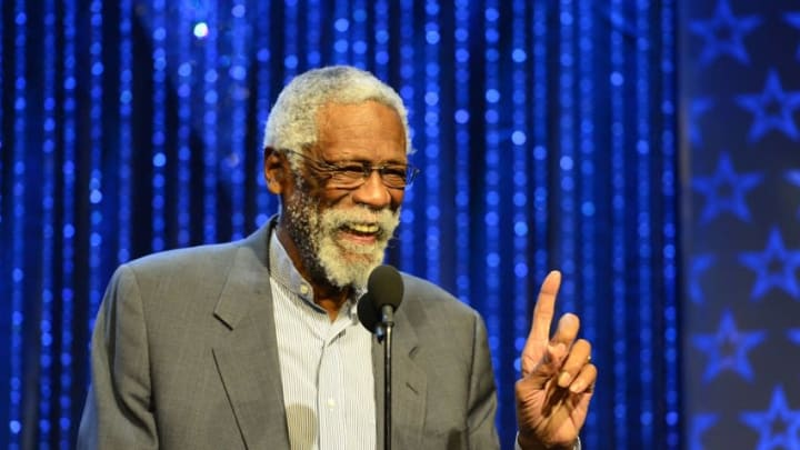 Feb 16, 2014; New Orleans, LA, USA; NBA legend Bill Russell speaks during a special tribute to him during the 2014 NBA All-Star Game Legends Brunch at Ernest N. Morial Convention Center. Mandatory Credit: Bob Donnan-USA TODAY Sports
