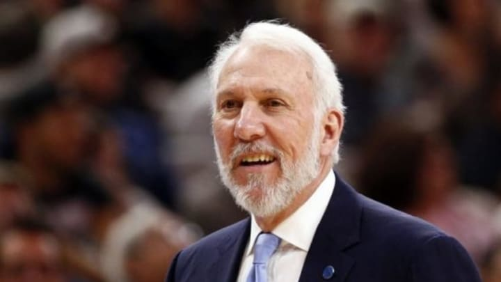 Nov 7, 2015; San Antonio, TX, USA; San Antonio Spurs head coach Gregg Popovich reacts during the second half against the Charlotte Hornets at AT&T Center. Mandatory Credit: Soobum Im-USA TODAY Sports