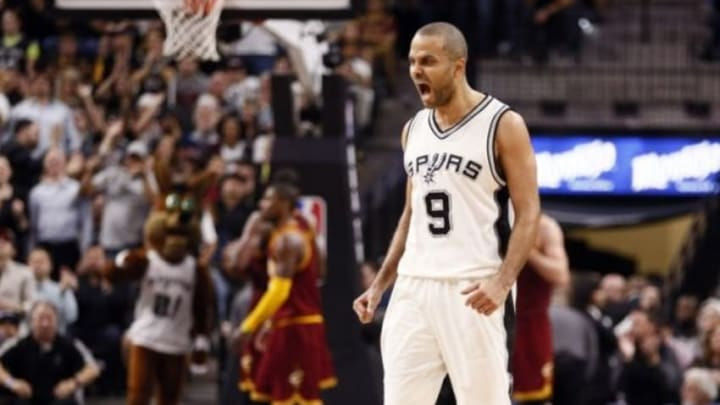Jan 14, 2016; San Antonio, TX, USA; San Antonio Spurs point guard Tony Parker (9) reacts after a shot against the Cleveland Cavaliers during the second half at AT&T Center. Mandatory Credit: Soobum Im-USA TODAY Sports