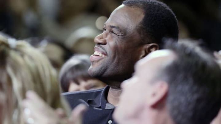 Mar 12, 2014; San Antonio, TX, USA; San Antonio Spurs former player David Robinson attends game during the first half against the Portland Trail Blazers at AT&T Center. Mandatory Credit: Soobum Im-USA TODAY Sports