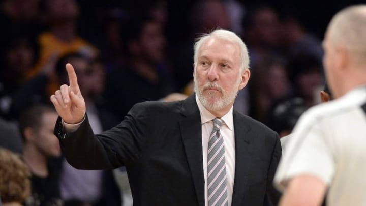 Feb 19, 2016; Los Angeles, CA, USA; San Antonio Spurs head coach Gregg Popovich gestures after the game against the Los Angeles Lakers at Staples Center. The Spurs beat the Lakers 119-113. Mandatory Credit: Richard Mackson-USA TODAY Sports