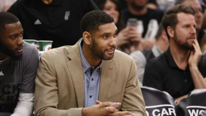 Feb 1, 2016; San Antonio, TX, USA; San Antonio Spurs power forward Tim Duncan (21) watches from the bench during the first half against the Orlando Magic at AT&T Center. Mandatory Credit: Soobum Im-USA TODAY Sports