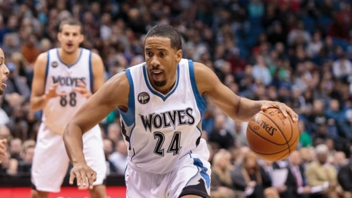 Nov 12, 2015; Minneapolis, MN, USA; Minnesota Timberwolves guard Andre Miller (24) dribbles in the third quarter against the Golden State Warriors at Target Center. The Golden State Warriors beat he Minnesota Timberwolves 129-116. Mandatory Credit: Brad Rempel-USA TODAY Sports