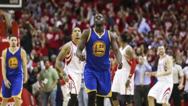 Apr 21, 2016; Houston, TX, USA; Golden State Warriors forward Draymond Green (23) reacts after a play in the fourth quarter against the Houston Rockets in game three of the first round of the NBA Playoffs at Toyota Center. The Rockets won 97-96. Mandatory Credit: Troy Taormina-USA TODAY Sports