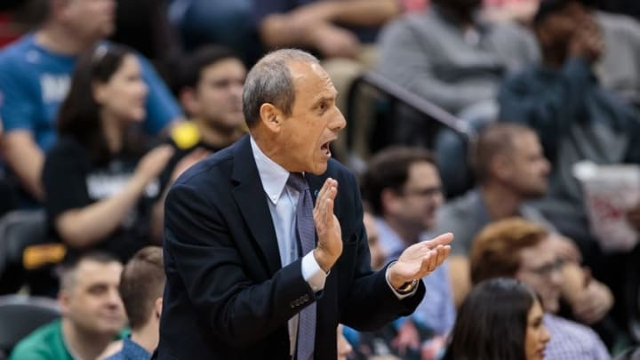 Mar 8, 2016; Minneapolis, MN, USA; San Antonio Spurs head assistant coach Ettore Messina cheers on the team in the first quarter against the Minnesota Timberwolves at Target Center. Mandatory Credit: Brad Rempel-USA TODAY Sports
