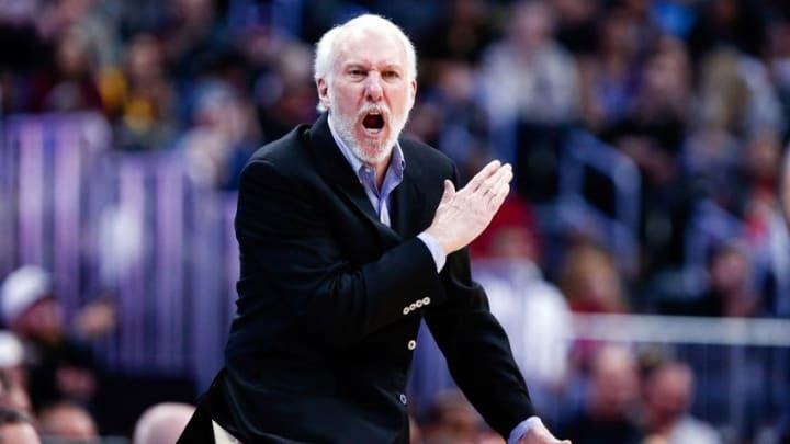 Apr 8, 2016; Denver, CO, USA; San Antonio Spurs head coach Gregg Popovich reacts after a play in the fourth quarter against the Denver Nuggets at the Pepsi Center. The Nuggets defeated the Spurs 102-98. Mandatory Credit: Isaiah J. Downing-USA TODAY Sports