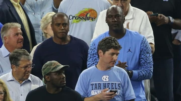Apr 4, 2016; Houston, TX, USA; NBA former player Michael Jordan looks on from the stands during the first half between the Villanova Wildcats and the North Carolina Tar Heels in the championship game of the 2016 NCAA Men