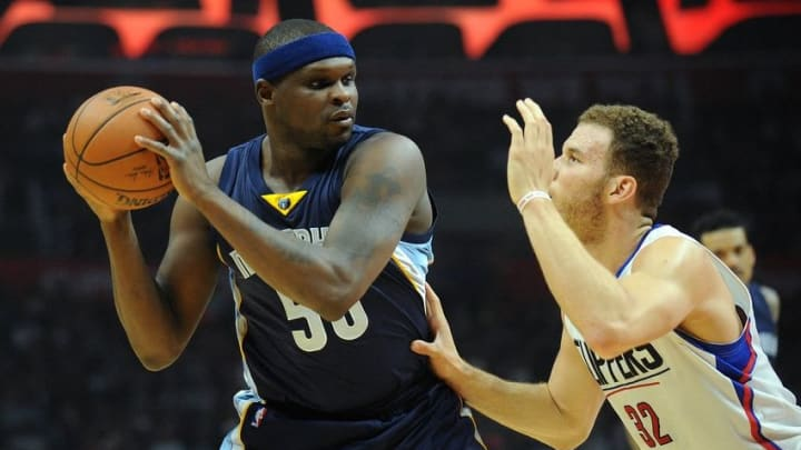 April 12, 2016; Los Angeles, CA, USA; Memphis Grizzlies forward Zach Randolph (50) controls the ball against Los Angeles Clippers forward Blake Griffin (32) during the first half at Staples Center. Mandatory Credit: Gary A. Vasquez-USA TODAY Sports