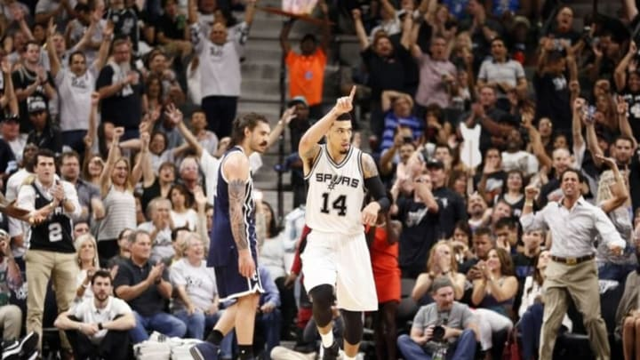 Apr 30, 2016; San Antonio, TX, USA; San Antonio Spurs shooting guard Danny Green (14) reacts after a shot against the Oklahoma City Thunder in game one of the second round of the NBA Playoffs at AT&T Center. Mandatory Credit: Soobum Im-USA TODAY Sports