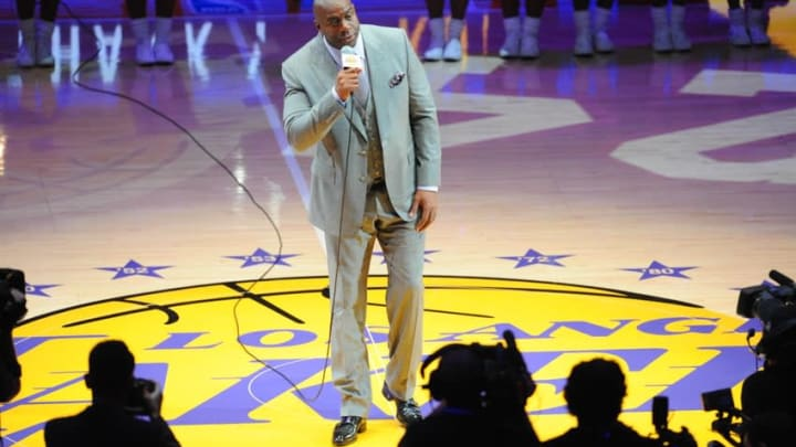 """Apr 13, 2016; Los Angeles, CA, USA; Los Angeles Lakers former player Earvin """"Magic"""" Johnson introduces Lakers forward Kobe Bryant (not pictured) before a game against the Utah Jazz at Staples Center. Bryant concludes his 20-year NBA career tonight. Mandatory Credit: Gary A. Vasquez-USA TODAY Sports"""