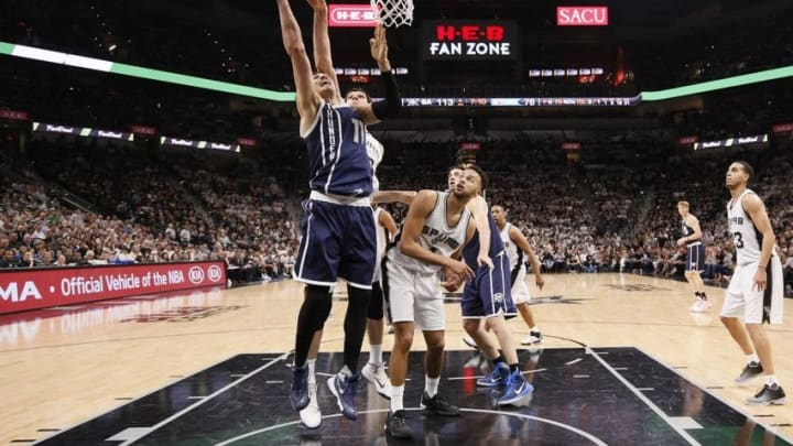 Apr 30, 2016; San Antonio, TX, USA; Oklahoma City Thunder center Enes Kanter (11) has his shot blocked by San Antonio Spurs center Boban Marjanovic (40, behind) in game one of the second round of the NBA Playoffs at AT&T Center. Mandatory Credit: Soobum Im-USA TODAY Sports