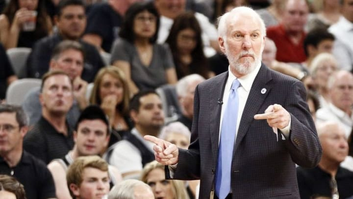 May 10, 2016; San Antonio, TX, USA; San Antonio Spurs head coach Gregg Popovich gives direction to his team against the Oklahoma City Thunder in game five of the second round of the NBA Playoffs at AT&T Center. Mandatory Credit: Soobum Im-USA TODAY Sports