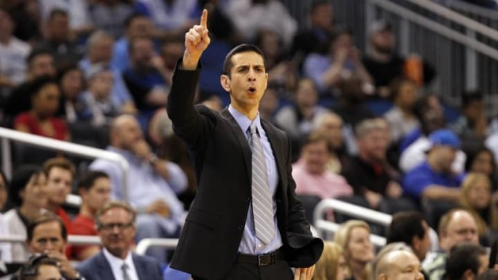 Feb 25, 2015; Orlando, FL, USA; Orlando Magic head coach James Borrego calls a play against the Miami Heat during the first quarter at Amway Center. Mandatory Credit: Kim Klement-USA TODAY Sports
