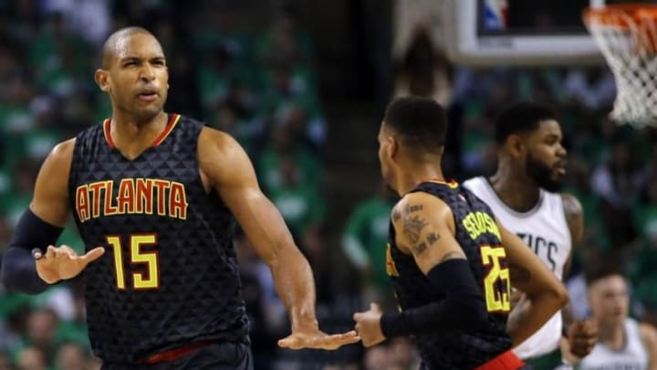 Apr 22, 2016; Boston, MA, USA; Atlanta Hawks center Al Horford (15) reacts after his basket against the Boston Celtics in game three of the first round of the NBA Playoffs at TD Garden. Mandatory Credit: David Butler II-USA TODAY Sports