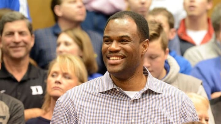 Feb 7, 2015; Durham, NC, USA; Former NBA player David Robinson watches introductions prior to the first half between the Notre Dame Fighting Irish and Duke Blue Devils at Cameron Indoor Stadium. Mandatory Credit: Rob Kinnan-USA TODAY Sports