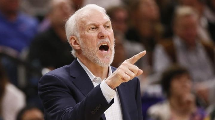 Feb 1, 2016; San Antonio, TX, USA; San Antonio Spurs head coach Gregg Popovich gives direction to his team during the first half against the Orlando Magic at AT&T Center. Mandatory Credit: Soobum Im-USA TODAY Sports