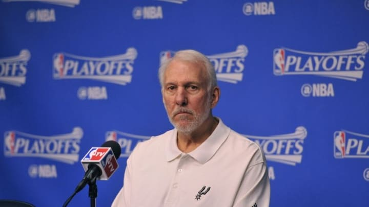 Apr 24, 2016; Memphis, TN, USA; San Antonio Spurs head coach Gregg Popovich before the game against the Memphis Grizzlies in game four of the first round of the NBA Playoffs at FedExForum. Mandatory Credit: Justin Ford-USA TODAY Sports