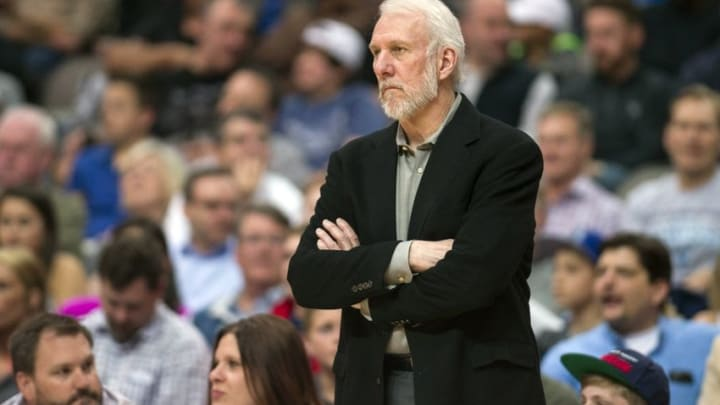 Apr 13, 2016; Dallas, TX, USA; San Antonio Spurs head coach Gregg Popovich watches his team take on the Dallas Mavericks during the first half at the American Airlines Center. Mandatory Credit: Jerome Miron-USA TODAY Sports