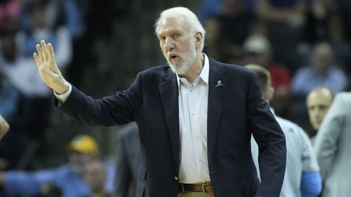 Mar 28, 2016; Memphis, TN, USA; San Antonio Spurs head coach Gregg Popovich during the first half against the Memphis Grizzlies at FedExForum. Mandatory Credit: Nelson Chenault-USA TODAY Sports
