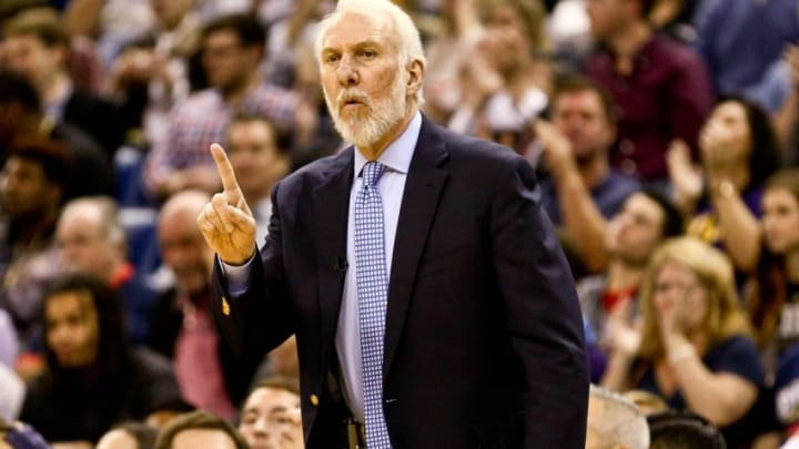 Mar 3, 2016; New Orleans, LA, USA; San Antonio Spurs head coach Gregg Popovich against the New Orleans Pelicans during the second quarter of a game at the Smoothie King Center. Mandatory Credit: Derick E. Hingle-USA TODAY Sports