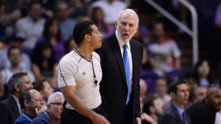 Feb 21, 2016; Phoenix, AZ, USA; San Antonio Spurs head coach Gregg Popovich reacts after a foul call during the second half against the Phoenix Suns at Talking Stick Resort Arena. The Spurs won 118-111. Mandatory Credit: Joe Camporeale-USA TODAY Sports