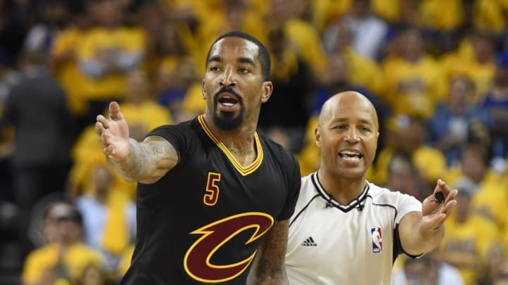 Jun 13, 2016; Oakland, CA, USA; Cleveland Cavaliers guard J.R. Smith (5) reacts with the official in the first half in game five of the NBA Finals at Oracle Arena. Mandatory Credit: Bob Donnan-USA TODAY Sports