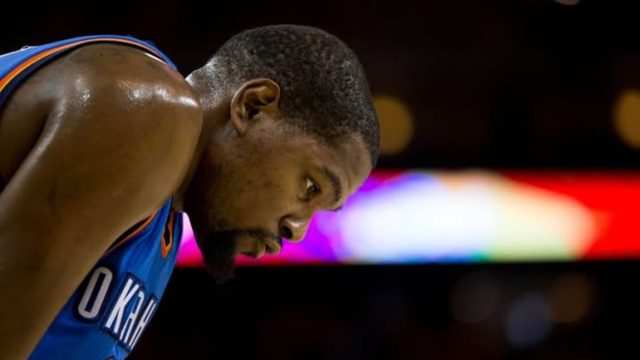 May 26, 2016; Oakland, CA, USA; Oklahoma City Thunder forward Kevin Durant (35) looks on between plays against the Golden State Warriors during the third quarter in game five of the Western conference finals of the NBA Playoffs at Oracle Arena. Mandatory Credit: Kelley L Cox-USA TODAY Sports