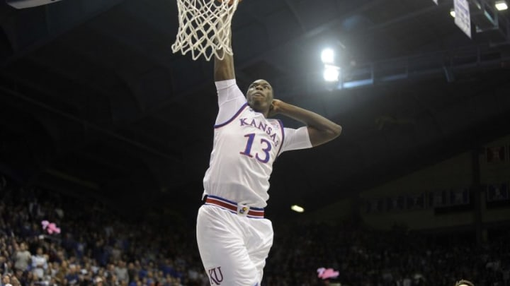 Dec 1, 2015; Lawrence, KS, USA; Kansas Jayhawks forward Cheick Diallo (13) dunks the ball against the Loyola-Maryland Greyhounds in the second half at Allen Fieldhouse. Kansas won the game 94-61. Mandatory Credit: John Rieger-USA TODAY Sports