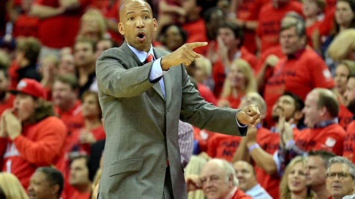Apr 23, 2015; New Orleans, LA, USA; New Orleans Pelicans head coach Monty Williams reacts against the Golden State Warriors during the second half in game three of the first round of the NBA Playoffs at the Smoothie King Center. Mandatory Credit: Derick E. Hingle-USA TODAY Sports