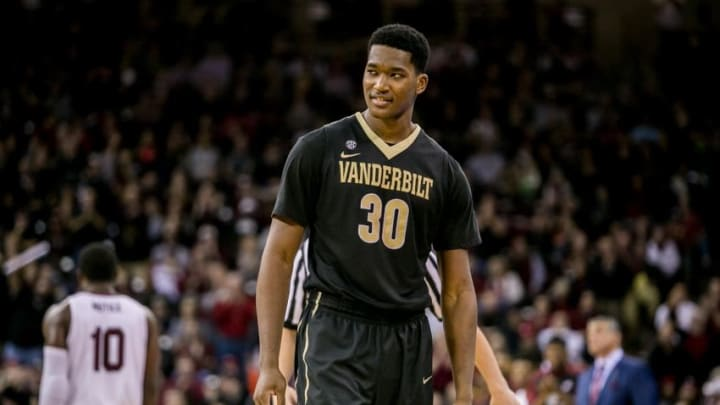 Jan 9, 2016; Columbia, SC, USA; Vanderbilt Commodores center Damian Jones (30) after fouling out against the South Carolina Gamecocks in the second half at Colonial Life Arena. Mandatory Credit: Jeff Blake-USA TODAY Sports