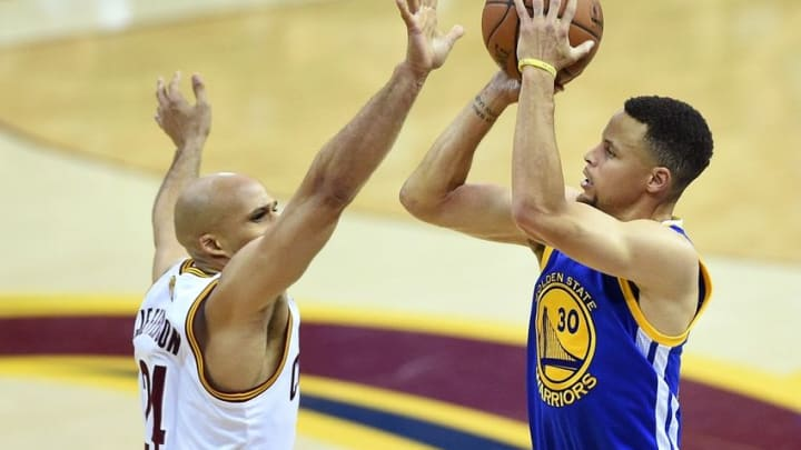 Jun 16, 2016; Cleveland, OH, USA; Golden State Warriors guard Stephen Curry (30) shoots the ball against Cleveland Cavaliers forward Richard Jefferson (24) during the first quarter in game six of the NBA Finals at Quicken Loans Arena. Mandatory Credit: Bob Donnan-USA TODAY Sports
