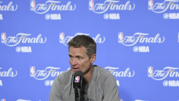 June 1, 2016; Oakland, CA, USA; Golden State Warriors head coach Steve Kerr addresses the media in a press conference during NBA Finals media day at Oracle Arena. Mandatory Credit: Kyle Terada-USA TODAY Sports