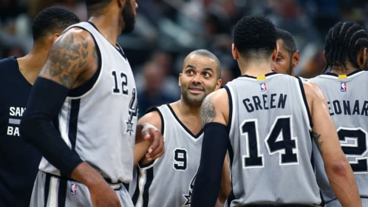 Mar 19, 2016; San Antonio, TX, USA; San Antonio Spurs guard Tony Parker (9) talks to his teammates in the game against the Golden State Warriors at the AT&T Center. Spurs won 89-79. Mandatory Credit: Erich Schlegel-USA TODAY Sports