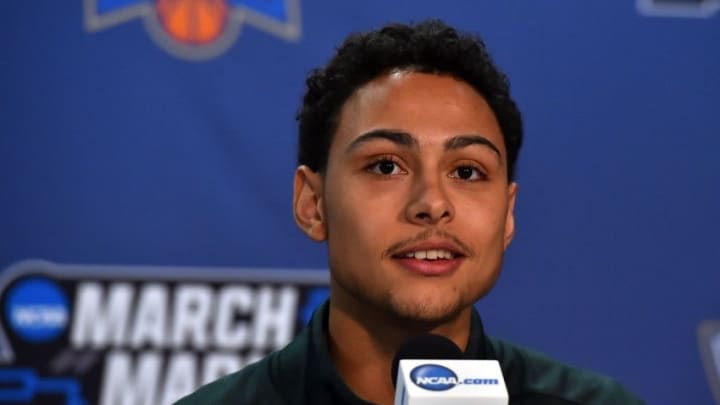 Mar 17, 2016; St. Louis, MO, USA; Michigan State Spartans guard Bryn Forbes speaks with the media during a practice day before the first round of the NCAA men