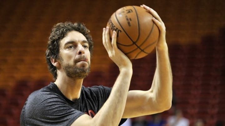 Dec 14, 2014; Miami, FL, USA; Chicago Bulls forward Pau Gasol (16) warms up before a game against the Miami Heat at American Airlines Arena. Mandatory Credit: Steve Mitchell-USA TODAY Sports