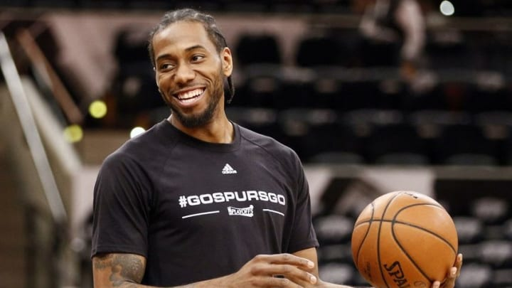 Apr 30, 2016; San Antonio, TX, USA; San Antonio Spurs small forward Kawhi Leonard (2) smiles before game one of the second round of the NBA Playoffs against the Oklahoma City Thunder at AT&T Center. Mandatory Credit: Soobum Im-USA TODAY Sports