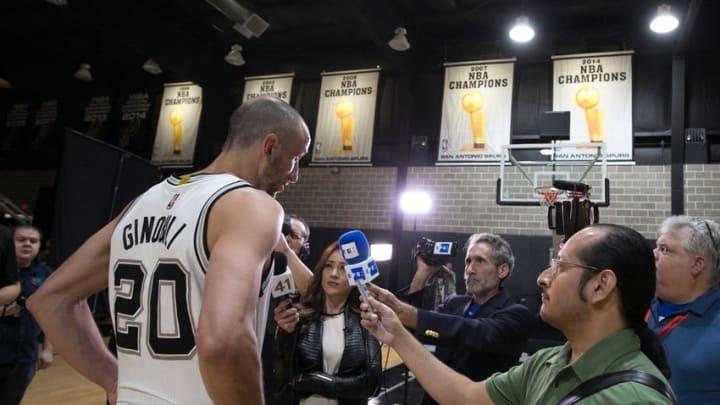 Sep 26, 2016; San Antonio, TX, USA; San Antonio Spurs shooting guard Manu Ginobili (20) is interviewed during media day at the Spurs training facility. Mandatory Credit: Soobum Im-USA TODAY Sports