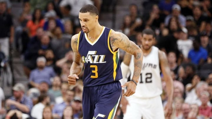 Nov 1, 2016; San Antonio, TX, USA; Utah Jazz point guard George Hill (3) reacts after a shot against the San Antonio Spurs during the second half at AT&T Center. The Jazz won 106-91. Mandatory Credit: Soobum Im-USA TODAY Sports