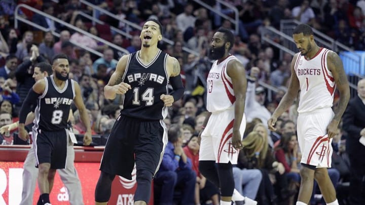 Dec 20, 2016; Houston, TX, USA; San Antonio Spurs guard Danny Green (14) reacts after making a three point basket against the Houston Rockets in the second half at Toyota Center. San Antonio Spurs won 102 to 100. Mandatory Credit: Thomas B. Shea-USA TODAY Sports