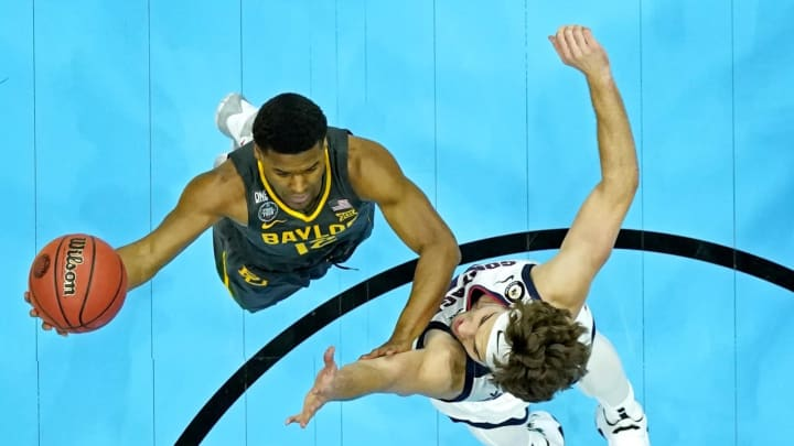 Apr 5, 2021; Indianapolis, IN, USA; Baylor Bears guard Jared Butler (12) shoots the ball against Gonzaga Bulldogs forward and San Antonio Spurs