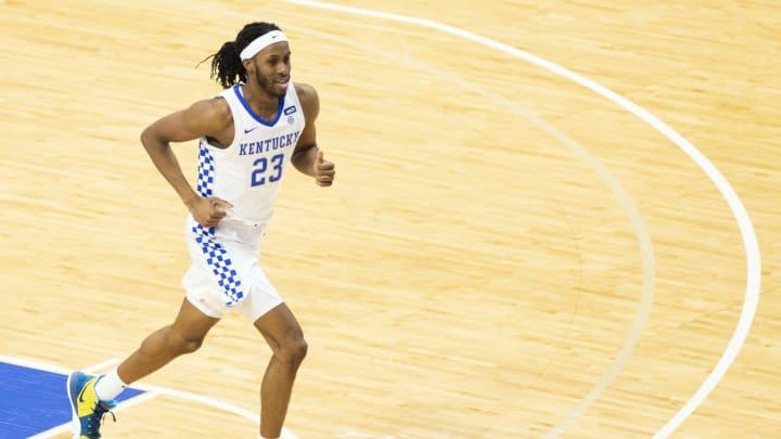Mar 6, 2021; Lexington, Kentucky, USA; Kentucky Wildcats forward Isaiah Jackson (23) runs down the court during the second half of the game against th