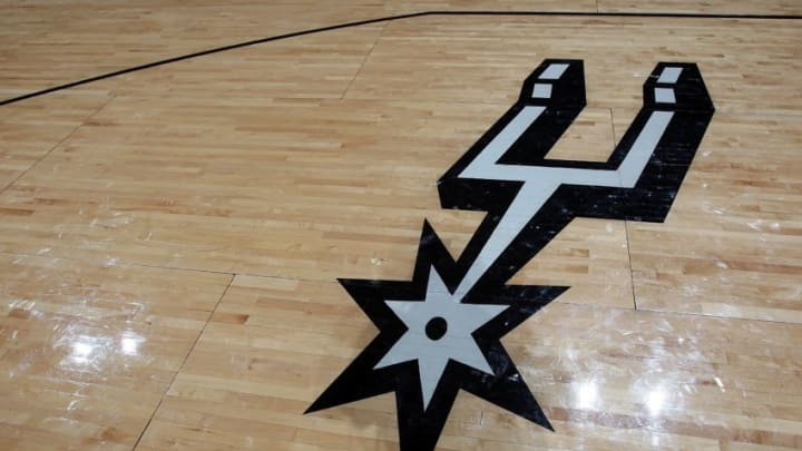 SAN ANTONIO - APRIL 18: The logo of the San Antonio Spurs in Game One of the Western Conference Quarterfinals during the 2009 NBA Playoffs at AT