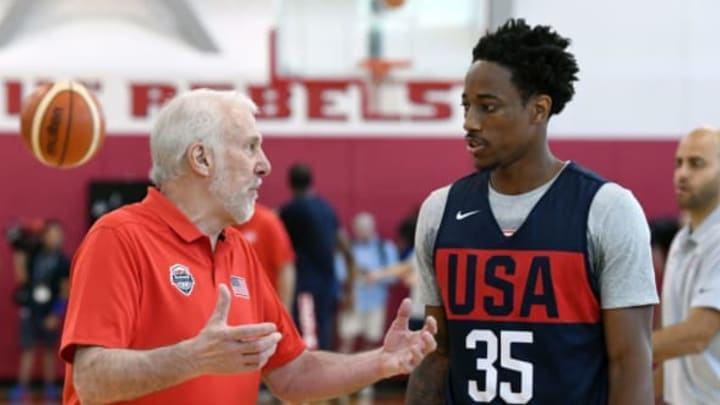 LAS VEGAS, NV – JULY 26: Head coach Gregg Popovich of the United States works with DeMar DeRozan #35 during a practice session at the 2018 USA Basketball Men's National Team minicamp at the Mendenhall Center at UNLV on July 26, 2018 in Las Vegas, Nevada. (Photo by Ethan Miller/Getty Images)