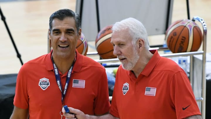 LAS VEGAS, NV – JULY 26: Assistant coach Jay Wright (L) and head coach Gregg Popovich of the United States talk during a practice session at the 2018 USA Basketball Men's National Team minicamp at the Mendenhall Center at UNLV on July 26, 2018 in Las Vegas, Nevada. (Photo by Ethan Miller/Getty Images)